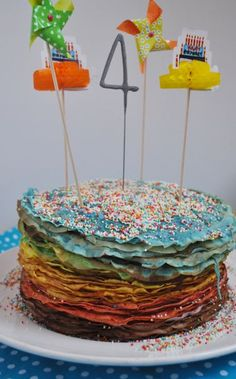 Now we've got to contend with the fucking rainbow CREPE cake? FFS people, just make a fucking cake, smother it in icing and bung a few candles on top. Clementine Cake, Pancake Party, Crepes And Waffles, Crepe Cake, Crepe Recipes, Birthday Pictures, Fancy Cakes, Girl Birthday, Birthday Cake
