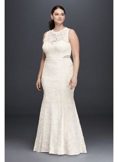 Lace Trumpet Plus Size Wedding Dress with Illusion DB9799W