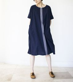 jing, sewing and creating handmade sustainable fashion Colorblock Dress, Slow Fashion, Shirt Dress, T Shirt, Sustainable Fashion, Color Blocking, Short Sleeve Dresses, Blue And White, Photo And Video