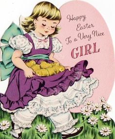 girl greetings - purple apron