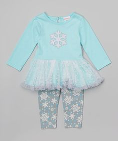 Another great find on #zulily! Aqua Snowflake Tutu Tunic & Leggings - Infant #zulilyfinds