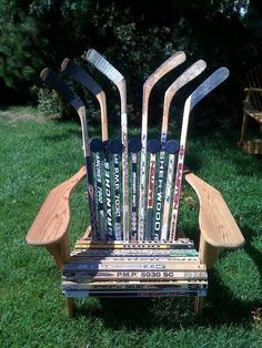 The most Canadian Muskoka chair of all time. #hockey #ontario #muskoka #cottage