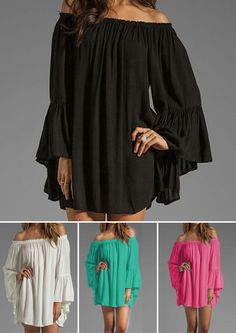 "Women's ""It's Called 'Sexy'"" PLUS SIZE Casual Off The Shoulder Chiffon Pleated Top/Mini Dress (4 Color) S-XXXL"