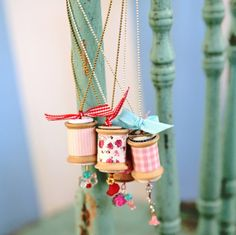 Sweet Vintage Spool Necklaces - Recycle your spools for this simple DIY necklace.