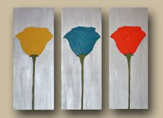 Acrylic 3 Piece Canvas Acrylic Wall Art Set Textured Yellow, Orange & Blue Flowers Triptych Painting