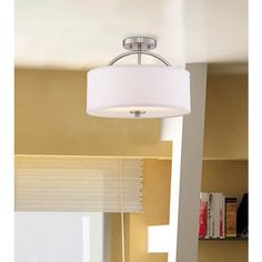 "Halsted Brushed Nickel Semi-Flush 15"" Wide Ceiling Light"