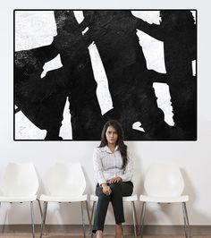 toile de la grande peinture abstraite, art grand mur sur toile, toile abstraite art, art de toile de peinture noir et blanc, extra-large sticker