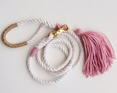 Rope Dog Leash  Black Leather with Tassel