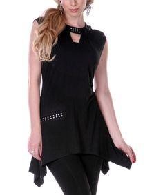 Look at this #zulilyfind! Black Stripe Contrast Cutout Dress by Aster #zulilyfinds