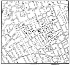 """John Snow's Ghost Map  In 1854 John Snow's map of cases led to the discovery that a cholera outbreak in Soho, London was geographically tied to the location of a water well. At the time, the popular belief was that people would become sick by breathing """"bad air."""" But John Snow's early data visualization of reported cases was used to convince local officals to shut down the potentially contaminated well (by removing the handle). This action is commonly credited with ending the epidemic."""