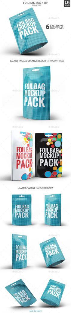 Foil Bag Pack Mock-up | #bagpackmockup #mockup | Download: http://graphicriver.net/item/foil-bag-pack-mockup/10299253?ref=ksioks