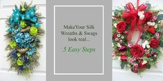 5 Ways to Make Your Silk Flower Wreaths Look More Realistic – Timeless Floral Boutique - Modern Silk Flower Wreaths, Silk Flowers, Silk Flower Arrangements, All Holidays, Tree Leaves, Shape And Form, Real Flowers, 5 Ways, Greenery