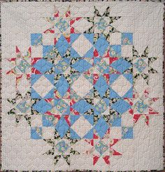 """Storm at Sea variation: Eagle Harbor Summer quilt, 42"""" square, pattern by Beach Garden Quilts"""