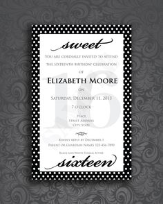 Sweet 16 Formal Black and White Birthday Invitation Instant Download by CornerHouseGraphics on Etsy https://www.etsy.com/listing/189004365/sweet-16-formal-black-and-white-birthday