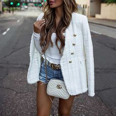 Get extra off order white tweed blazer womens wool short blazer jacket double breasted tweed coat gold button tweed suits casual plaid blazer - Women Blazer Jackets - Ideas of Women Blazer Jackets Tweed Blazer Outfit, Tweed Shorts, Look Blazer, Blazer And Shorts, Blazer Outfits, Casual Outfits, Plaid Blazer, White Jacket Outfit, Fall Outfits