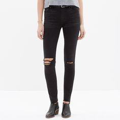 Madewell High Rise Black Ripped-Knee Skinny Jeans; madewell.com