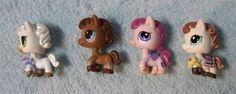 Littlest Pet Shop LPS Horse Lot 4 Brown Pink White  #Hasbro