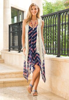 The Mix-Fits | Perfect the art of layering in this chevron print hanky hem dress and hooded crochet vest. Perforated sandals and a beaded statement necklace take this look up a few notches.