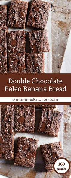 Incredible double chocolate paleo banana bread bars made with almond and coconut flour. This no sugar added treat only takes 30 minutes from start to finish and tastes AMAZING!