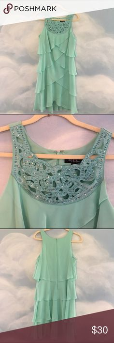 Aqua mermaid inspired dress 12 Aqua mermaid inspired dress with beaded detail size 12 great for beach events and vacations! SL Fashions Dresses Midi