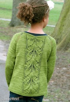 Leaf Lace Cardigan (kids) pattern by Ewelina Murach malabrigo Sock in Lettuce