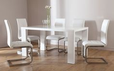 Stockholm White High Gloss Dining Table
