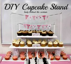 Lady Behind The Curtain - DIY Cupcake Stand. Idea for wedding.