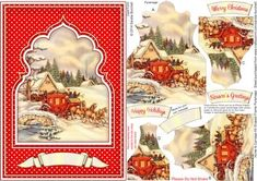 Horse Carriage A5 Shaped Frame Pyramage on Craftsuprint designed by Sandie Burchell - Beautiful A5 Card with fancy arched shaped frame pyramage. The finished card will fit into a standard C5 envelope. Sentiment Panels include: Merry Christmas, Happy Holidays, Season's Greetings or Blank for your own peel-off lettering or stamp. There is also a Matching Insert for this design please see related sheets. To see more of these designs type shaped frame pyramage into my search box. Please take a…