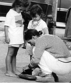 Jacqueline with her granddaughters Rose and Tatiana at Martha's Vineyard, August 1993.