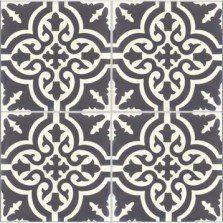 Lot de 4 carreaux de ciment Trouville noir et blanc, l.20 x L.20 cm