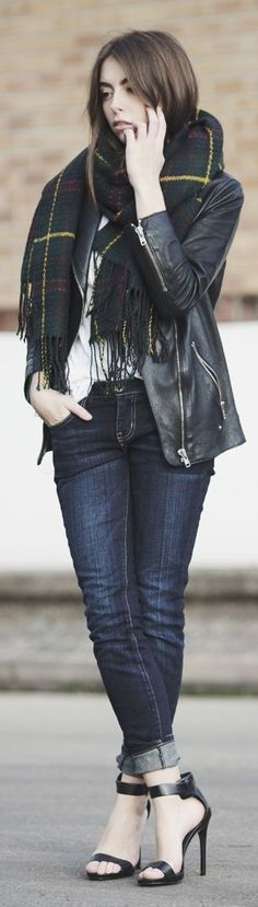 style outfit apparel fashion clothing women jacket leather scarf blue jeans black heels spring casual street