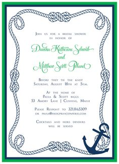 Nautical chalkboard beach bridal shower invitation Bridal Shower