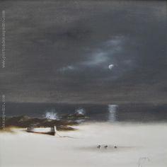 """Adolfo Sayago """"Playa y luna"""" Óleo sobre tela  60 x 60 cm. Año 1992  Firmado y fechado abajo a la derecha  http://www.portondesanpedro.com/ver-producto.php?id=12644"""