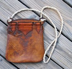 Viking Bag Hedeby Haithabu Handbag of Leather with Carved Burned Oak Top Renaissance Faire