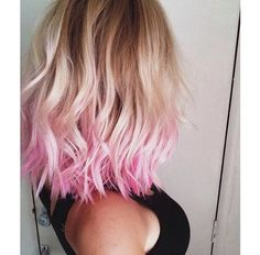 With blonde hair highlights pink color