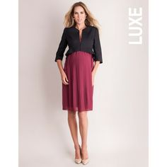 Berry Pleated Maternity Nursing Dress (5 125 UAH) ❤ liked on Polyvore featuring maternity