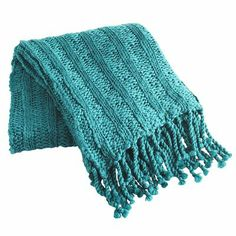 Chunky Ribbed Knit Throw - Teal...love the knit texture and color
