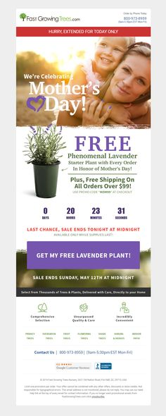Mother's Day email from Fast Growing Trees including Countdown Timer to end of offer #Emailmarketing #Email #Marketing #Offer #MothersDay #CountdownTimer #Retail #Garden