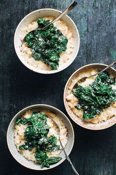 A simple White Bean Risotto with Garlicky Greens