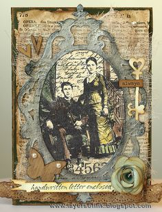 Layers of ink: Henry & Harriet Card, made with various Sizzix dies and Darkroom Door's Henry & Harriet Collage Stamp.