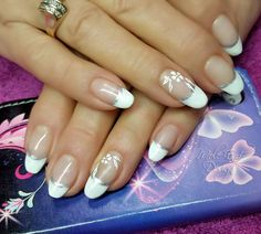 Silver and white french with flower details on natural nails  #french #nailart