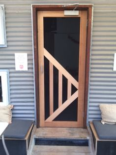 Recycled Vic Ash frame for screen door we designed and made for high traffic doorway in RedBeard Bakery Cafe. Aluminum Screen Doors, Wood Screen Door, Wooden Screen, Screen Design, Door Design, Porch Bar, Cool Doors, Modern Door, Porch Lighting
