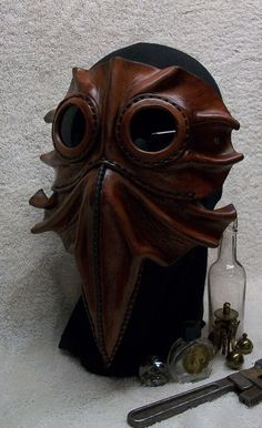 Steampunk Leather Mask Bizarre Bird by JoannaCorrinCoutures