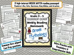 Greek Mythology HW pack!! {Grades 3-5 common core weekly reading homework}