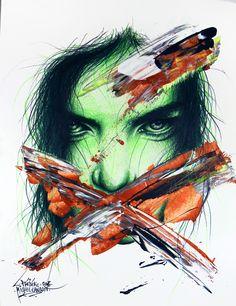 "Carnage / Collection ""Apparences"" / 24 x 32 cm / #portrait #art #sketch #fredml #ink #dark #flash #ink #acrilyque #fluo #trash #green #copper #black"