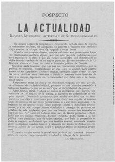LA ACTUALIDAD: REVISTA LITERARIA, ARTÍSTICA Y DE NOTICIAS GENERALES. Santa Cruz de Tenerife
