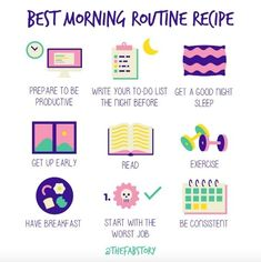 I love this visual example of a morning routine by Having a routine (or daily habits) can help you to get and stay organized. Do you have a morning routine? What's the hardest part for you to stick with? Daily Routine Schedule, Daily Routines, Routine Planner, Healthy Lifestyle Habits, Healthy Food Habits, Healthy Mind, Get My Life Together, Self Care Activities, Before Sleep