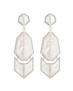 Kara Ross: Triple GEO Arrow Earrings with Mother of Pearl, White Sapphire Pave, Sterling Silver