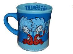 #DrSeuss Thing 1 & Thing 2 #Coffee #Mug Islands of Adventure 3D Glitter blue hair