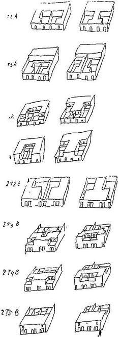 Fig. 5 – Croquis de variações da casa pátio [FLECK , Brigitte. Ávaro Siza. Londres: Chapman & Hill , 1995]